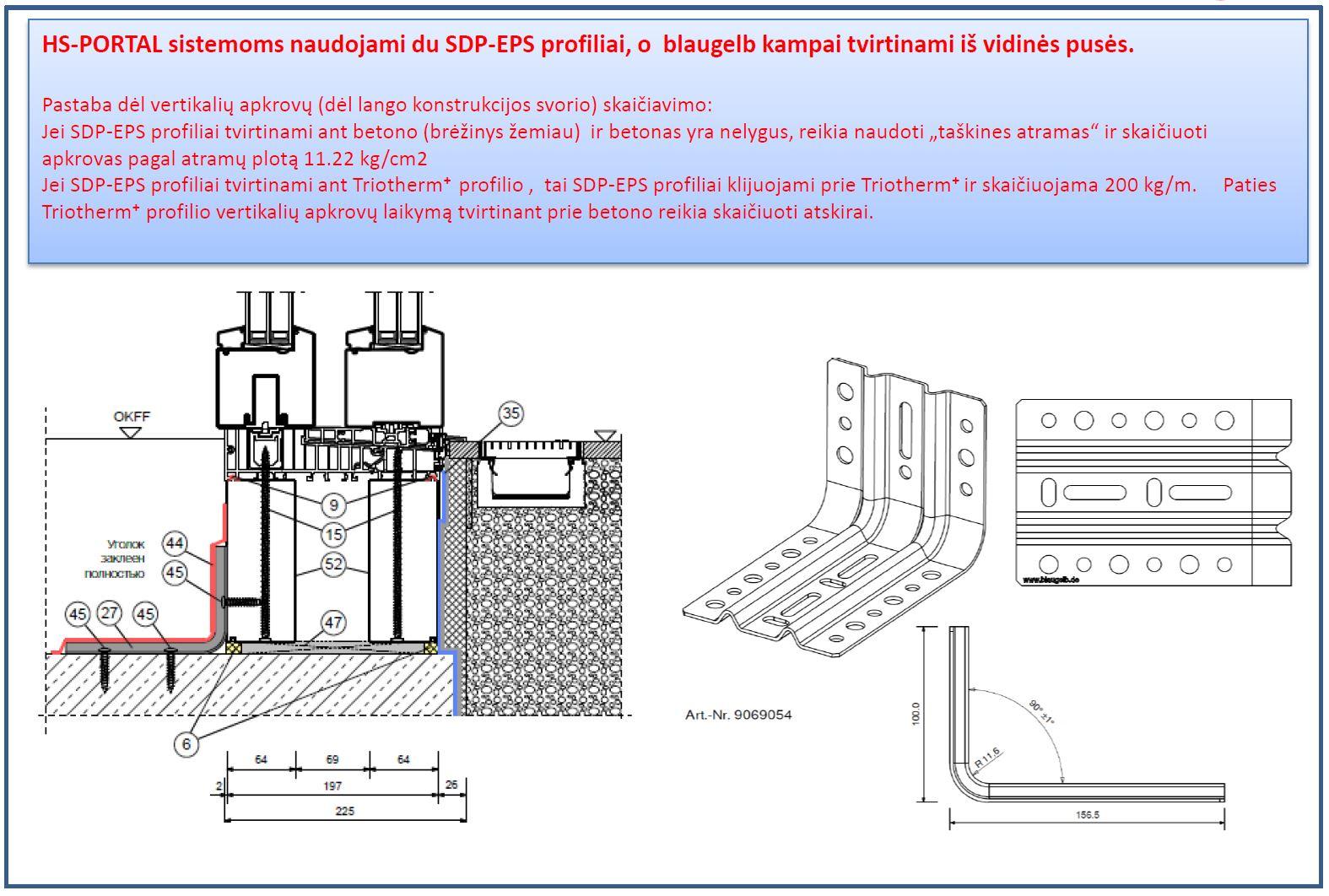 HS Portal paaukštinimo termoizliacinis profilis ir jo tvirtinimas su blaugelb montažiniu kampu