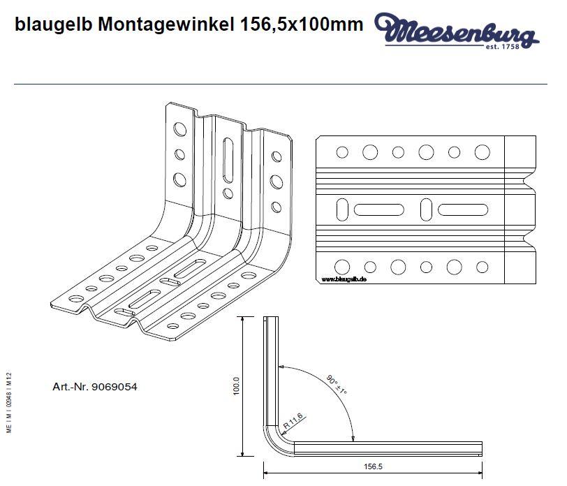 Montavimo kampas blaugelb Montagewinkel 156x100 sertifikuotam cokolinių profilių tvirtinimui