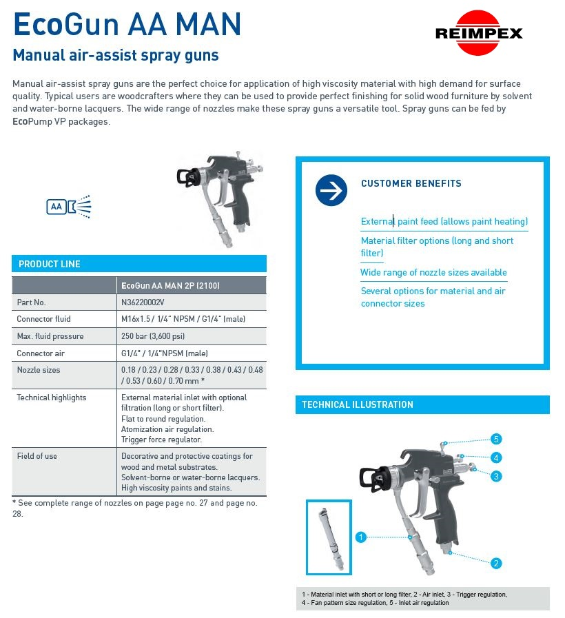 DURR Eco Gun AA MAN techniniai duomenys